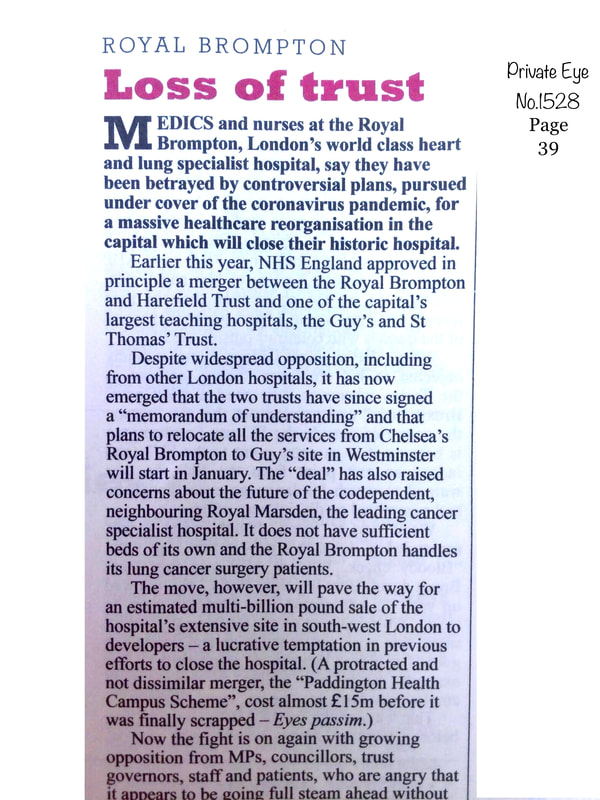 Private Eye Magazine August 2020 Royal Brompton Hospital